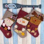 3PCs Christmas 3D Decorative Socks Candy Bag Santa Claus Snowman Elk Gift Card Holder