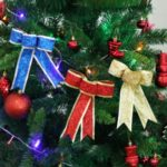 3PCs Glitter Powder Christmas Bowknot Tree Decoration – 18 cm