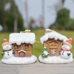 4PCs Pack Snow-covered Cottage Hanging Charms Christmas Tree Ornament Holiday Decoration