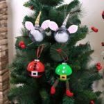 4PCs 8cm DIY Unicorn Santa Claus Elf Hanging Balls Ornaments Christmas Decoration