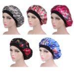 5PCs Soft Satin Hair Bonnet Sleeping Salon Cap Bonnet Set