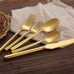 5PCs Stainless Steel Utensils Forks Spoons Knives Set