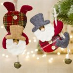 6PCs Creative Cloth Santa Claus Pendant with Bells Christmas Decoration