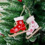 6PCs Wooden Ski Boots Hanging Pendant Ornaments Christmas Tree Decor