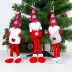 6PCs Handmade Hanging Tomte Long Leg Christmas Gnome Tree Pendants