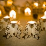 8 PCs Christmas Wooden Candlestick Snowflake Tealight Candle Holder Xmas Ornament