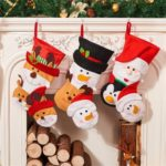 1pc 43cm Christmas Hanging Stockings Snowman Santa Claus Elk Gift Bag