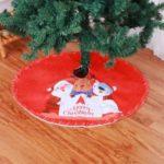 35-inch Red Christmas House Round Tree Skirt Santa Claus Snowman Reindeer