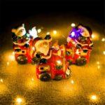Christmas Lighted Desktop Decoration Painted Santa Claus Snowman Bear Ceramic Doll 3 Pcs Set