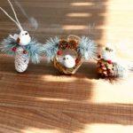 Christmas Pendant Ornament Bird Owl Wreath with Pinecone Window Door Tree Decor 3PCs Set