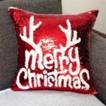 Christmas Red Embroidered Sequins Pillow Cover Christmas Decorative Cushion Cover