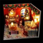 Christmas Style Warm DIY Wooden Dollhouse Assemble Doll House with Light