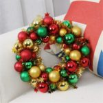 28cm Christmas Wreath Glittering Balls Hanging Ornament Door Decor