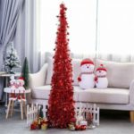 1.2m Collapsible Christmas Tree Artificial Tinsel Tree Home Party Decoration