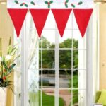 Creative Christmas Hat Pattern Window Drape Decoration Curtain Valance – 90 x 42 cm