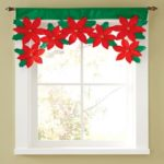 Creative Christmas Style Window Valance Cloth Flower Decoration Curtain