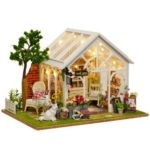 CuteRoom A-063 Sunshine Greenhouse Flower Shop DIY Miniature Dollhouse with Music & Light