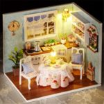 Cuteroom DIY Miniature Dining Room Dollhouse with Cover and LED