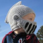 Hand Knit Knight Helmet Hat with Removable Mask for Kids