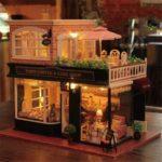 Paris Coffee & Cake Shop DIY Miniature Dollhouse Kit with LED Light