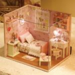 Pinky Apartment DIY Miniature Dollhouse Kit with LED Light