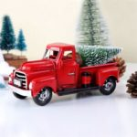 Vintage Mini Red Metal Truck Christmas Ornament Tabletop Decor Toy – 18 x 7 x 9 cm