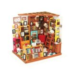 Vivid 3D Mini DIY Book Shop Dollhouse Assemble Doll House with Light
