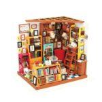 Vivid 3D Mini DIY Book Shop Dollhouse Assemble Doll House with Light