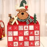 Wooden Advent Calendar Train Elk Sleigh Xmas Tree Christmas Decor Desk Ornament
