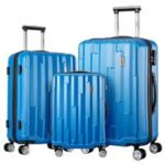 New                                                       3PCS Travel Cases Trolley Luggages Integrated Security Number Lock – Blue