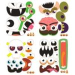 New                                                       12 Sets Halloween Foam Pumpkin Decoration Stickers, Self Adhesive 3D Pumpkin Face Decorating Stickers Craft