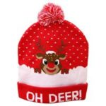 New                                                       LED Light Christmas Knitted Hat Colorful Luminous Grey Deer Xmas Supplies – Red