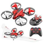 New                                                       L6082 Air Genius RC Quadcopter Airplane Tiny Whoover All-In-One DIY 2.4G RC Drone For Kids Gift RTF Red – One Battery Version