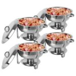 New                                                       4pcs ZOKOP 5Qt Stainless Steel Round Buffet Stove With Covers Water & Food Pans Fuel Holders – Sliver