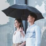 New 90FUN Portable Fully Automatic Reverse Folding Lighting Umbrella Anti-UV UPF50+ Windproof Wind Resistant Umbrella Three Folding From Xiaomi Youpin – Black