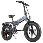 New ENGWE 500W 20 inch Fat Tire Electric Folding Bicycle Mountain Beach Snow Bike for Adults Aluminum Electric Scooter 7 Speed Gear E-Bike with Removable 48V 12.5A Lithium Battery Dual Disc – Gray