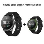 New Haylou Solar LS05 1.28 inch TFT Touch Screen Smartwatch IP68 Waterproof with Heart Rate Monitor Global Version From Xiaomi Youpin Black + ArmyGreen Silicone Protective Shell