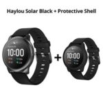 New Haylou Solar LS05 1.28 inch TFT Touch Screen Smartwatch IP68 Waterproof with Heart Rate Monitor Global Version From Xiaomi Youpin Black + Black Silicone Protective Shell