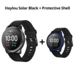 New Haylou Solar LS05 1.28 inch TFT Touch Screen Smartwatch IP68 Waterproof with Heart Rate Monitor Global Version From Xiaomi Youpin Black + Midnight Blue Silicone Protective Shell
