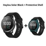 New Haylou Solar LS05 1.28 inch TFT Touch Screen Smartwatch IP68 Waterproof with Heart Rate Monitor Global Version From Xiaomi Youpin Black + Dark Green Silicone Protective Shell