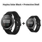 New Haylou Solar LS05 1.28 inch TFT Touch Screen Smartwatch IP68 Waterproof with Heart Rate Monitor Global Version From Xiaomi Youpin Black + Gray Silicone Protective Shell