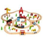 New 100pcs Wooden Train Set Kids Children Learning Toy Rail Lifter Road Crossing Track Railway
