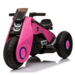 New Children's Electric Motorcycle 3 Wheels Double Drive With Music Playback Function – Pink