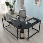 New Home Office L-shaped Combination Corner Table Steel Frame Oak Material With Removable Main Tray For Reading Writing Computer – Black