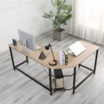 New Home Office L-shaped Combination Corner Table Steel Frame Oak Material With Removable Main Tray For Reading Writing Computer – Black + Log Color