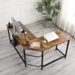 New Home Office L-shaped Combination Corner Table Steel Frame Oak Material With Removable Main Tray For Reading Writing Computer – Black + Wood Grain