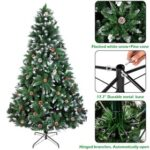 New 7FT Bionic Decoration Christmas Tree 1350 Branches PVC Leaves Metal Frame With Pine Cones – Dark Green