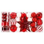 New 88 Pieces Shatterproof New Year Christmas Family Wedding Party Decoration Balls – Red
