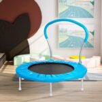 New 36 Inch Foldable Fitness Rebounder Mini Trampoline with Handle  Home Exercise – Blue