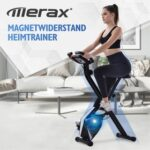 New Merax Foldable Exercise Bike with 8 Resistance Levels, Adjustable Seat Fitness Bike with Hand Pulse Sensors and LCD Console – Black